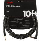 Fender - Deluxe Series Instrument Cable - Straight/Angle - 10' - Black Tweed