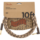 Fender - 10' Angled Festival Instrument Cable - Pure Hemp - Brown Stripe
