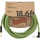 Fender - 18.6' Angled Festival Instrument Cable - Pure Hemp - Green