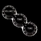 Fender (Parts) - Stratocaster Knobs, Black (Volume, Tone, Tone) (3)