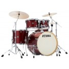 "Tama Superstar Classic 5pce 22"" Euro size Drum Kit with Hardware in Dark Red Sparkle Wrap Finish"