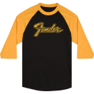 Fender Doodle 3/4 Sleeve Raglan Shirt, Black and Yellow, L