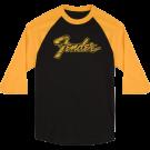 Fender Doodle 3/4 Sleeve Raglan Shirt, Black and Yellow, XL