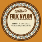 D'Addario BEB032 Folk Nylon Guitar Single String Black Nylon Ball End .032