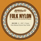D'Addario BEC028 Folk Nylon Guitar Single String Clear Nylon Ball End .028