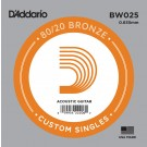 D'Addario BW025 Bronze Wound Acoustic Guitar Single String .025