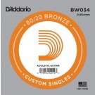 D'Addario BW034 Bronze Wound Acoustic Guitar Single String .034