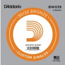 D'Addario BW039 Bronze Wound Acoustic Guitar Single String .039