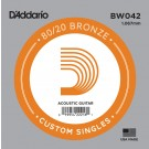 D'Addario BW042 Bronze Wound Acoustic Guitar Single String .042