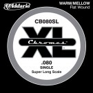 D'Addario CB080SL Chromes Bass Guitar Single String Super Long Scale .080