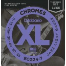 D'Addario ECG24-7 Chromes Flat Wound 7-String Electric Guitar Strings Jazz Light 11-65