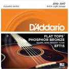 D'Addario EFT15 Flat Tops Phosphor Bronze Acoustic Guitar Strings Extra Light 10-47