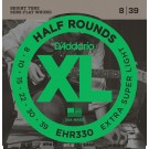 D'Addario EHR330 Half Round Electric Guitar Strings Extra-Super Light 8-39