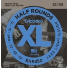 D'Addario EHR350 Half Round Electric Guitar Strings Jazz Light 12-52