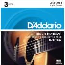 D'Addario EJ11-3D 80/20 Bronze Acoustic Guitar Strings Light 12-53 3 Sets