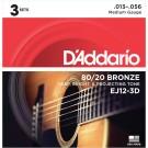 D'Addario EJ12-3D 80/12 Bronze Acoustic Guitar Strings Medium 13-56 3 Sets