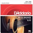 D'Addario EJ12 80/12 Bronze Acoustic Guitar Strings Medium 13-56