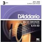 D'Addario EJ13-3D 80/20 Bronze Acoustic Guitar Strings Custom Light 11-52 3 Sets