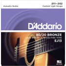 D'Addario EJ13 80/20 Bronze Acoustic Guitar Strings Custom Light 11-52
