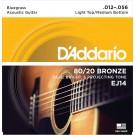 D'Addario EJ14 80/20 Bronze Acoustic Guitar Strings Light Top/Medium Bottom/Bluegrass 12-56