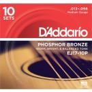 D'Addario EJ17-10P Phosphor Bronze Acoustic Guitar Strings Medium 13-56 10 Sets