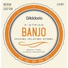 D'Addario EJ61NY 5-String Banjo Strings NY Steel Medium 10-23