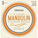 D'Addario EJ74-3D Mandolin Strings Phosphor Bronze Medium 11-40 3 Sets