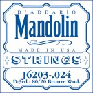 D'Addario J6203 80/20 Bronze Wound Mandolin Single String .024
