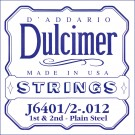 D'Addario J6401 Plain Steel Dulcimer Single String .012