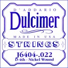 D'Addario J6404 Nickel Wound Dulcimer Single String .022