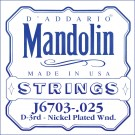 D'Addario J6703 Nickel Mandolin Single String .025