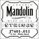 D'Addario J7401Plain Steel Mandolin Single String First String .011
