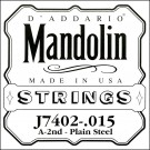 D'Addario J7402 Plain Steel Mandolin Single String Second String .015