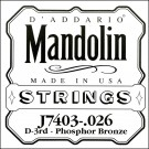 D'Addario J7403 Phosphor Bronze Mandolin Single String Third String .026