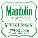 D'Addario J7502 Plain Steel Mandolin Single String Second String .016