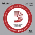 D'Addario LE078PB Phosphor Bronze Loop End Single String .078