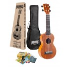 Mahalo MJ1TBRK - Soprano Ukulele with Essentials Accessory Pack - Transparent Brown