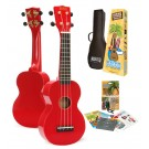 Mahalo MR1RDK - Soprano Ukulele - Learn 2 Play Pack - Red