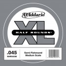 D'Addario NHR045M Half Round Bass Guitar Single String Medium Scale .045