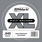 D'Addario NHR045 Half Round Bass Guitar Single String Long Scale .045