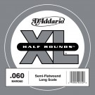 D'Addario NHR060 Half Round Bass Guitar Single String Long Scale .060