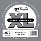 D'Addario NHR070 Half Round Bass Guitar Single String Long Scale .070