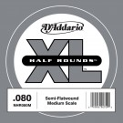 D'Addario NHR080M Half Round Bass Guitar Single String Medium Scale .080