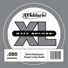 D'Addario NHR080SL Half Round Bass Guitar Single String Super Long Scale .080
