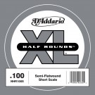 D'Addario NHR100S Half Round Bass Guitar Single String Short Scale .100