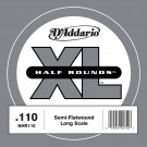D'Addario NHR110 Half Round Bass Guitar Single String Long Scale .110