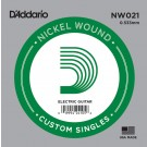 D'Addario NW021 Nickel Wound Electric Guitar Single String .021
