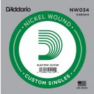 D'Addario NW034 Nickel Wound Electric Guitar Single String .034