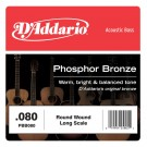 D'Addario PBB080 Phosphor Bronze Acoustic Bass Single Strings Long Scale .080
