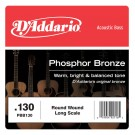 D'Addario PBB130 Phosphor Bronze Acoustic Bass Single Strings Long Scale .130